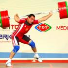 Ara Khachatryan of Armenia grimaces in pain during the 85 kg weightlifting competition at the World Weightlifting Championships on Sept. 24 in Antalya, Turkey. Khachatryan gave up his last two attempts in the clean and jerk after being injured. The 28-year-old had claimed the snatch gold with 175 kg before the incident.