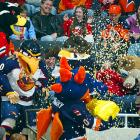 In this scene of mascot mayhem, the mascots for the Atlanta Thrashers, the Chicago Blackhawks, the New York Islanders and the Carolina Hurricanes engage in the popcorn fight to end all popcorn fights.