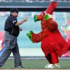 Does first base umpire Wally Bell really hate the Phillie Phanatic, or is he just not a fan of the Lady Gaga-inspired getup the Phanatic is sporting?