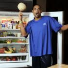 Not sure why he's spinning a melon on his finger and showing off his refrigerator.
