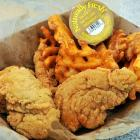 """""""This was not a wise choice. The breading on the chicken is seriously thick. And the waffle fries will go unexamined."""""""