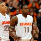 The Orange have an excellent two-headed point guard in Triche (25) and Jardine (11), who'll both be looked upon more to score in the absence of Wesley Johnson and Andy Rautins. Waiters is a well-built, four-star wing guard who was Syracuse's second-best recruit (after five-star center Fab Melo) in the Class of 2010. Jones played sparingly as a freshman but shot 44.6 percent on threes, the best on the team. That skill could help him earn his way back onto the floor.