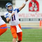 Last Week:  14-of-16 passing for 231 yards and two TDs; one rush for four yards in 48-0 win over San Jose State      Season:  105-of-151 passing for 1,567 yards, 16 TDs and one INT; eight rushes for minus-11 yards  It was another early day at the office for Moore. He was wearing a headset by halftime as he led the Broncos to touchdowns on five of their first six possessions and only faced third down three times. He leads the nation in passing efficiency with a 190.3 rating, which puts him well on pace to break  Colt Brennan's  single-season record of 186.0, and if these blowouts continue, barely a sweat.   Up Next:  Tuesday, Oct. 26 vs. Louisiana Tech