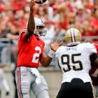 Last Week:  16-of-22 passing for 270 yards, three TDs and two INTs; four rushes for minus-2 yards in 49-0 win over Purdue.   Season:  118-of-181 passing for 1,505 yards, 15 TDs and four INTs; 75 rushes for 410 yards and three TDs; two receptions for 19 yards and one TD.  This was all about putting on a show for Pryor, and not because of what happened at Wisconsin. It was a year ago vs. Purdue that Pryor committed four turnovers as the Buckeyes lost in West Lafayette. He played just over a half Saturday and never ran on a designed run as he led OSU to TDs on six of their first eight possessions, though he wasn't without his missteps -- he had his fourth multi-interception game.   Next Up:  Saturday at Minnesota
