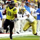 Oregon capped its first-ever week as the nation's No. 1 team in style, pummeling UCLA, 60-13, on Thursday night. The Bruins simply didn't have the speed to hang with the Ducks, who posted 582 yards of offense behind strong nights from quarterback Darron Thomas (308 yards, three TDs) and running back LaMichael James (123 yards, two scores).