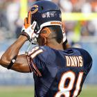 This is what you call thinking a head: Before taking on the Redskins, the Bears wideout made certain that if his helmet came off during a play, he would remain well within the NFL's stringent uniform rules.