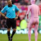 At least it wasn't a pink elephant or this referee would have sworn off the sauce (Tabasco, Worcestershire, etc.) when this vision appeared during a Premier League match between Sunderland and Aston Villa at Stadium of Light in Sunderland, England on Oct. 23.
