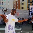 The Lakers' superduperstar may be hobbled by a bum right knee, but he still made it to the House of Hoops contest by Foot Locker in Barcelona.