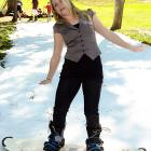 The noted actress seemed a bit discombobulated by the white stuff at a celebrity event with the U.S. Olympic ski and snowboarding teams in Topanga, Calif. No word if she made either team, but her form looks like it could use some tweaking.