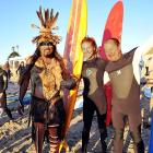 """You just never know who'll show up at these kinds of clambakes in Malibu, but this one attracted Chumash Ceremonial Elder Mati Waiya, actress Tanna Frederick and world champion surfer Peter """"PT"""" Townen."""