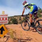 Mountain biker Jari Kirkland of Crested Butte, Colo., apparently went off course and ended up in Moab's red-light district while trying to navigate an obviously treacherous course.