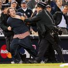 After getting a tad worked up about Alex Rodriguez dating Cameron Diaz, Mr. LeRogue earned himself a police escort by running on the field at Yankee Stadium to challenge the third baseman for the actress's affections during Game 4 of the AL Championship Series.