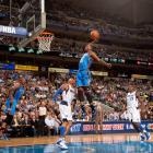 Durant skies for a breakaway dunk during a February 2012 game between the Thunder and Mavs.