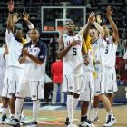 Durant leads the United States team in acknowledging the crowd after a 89-74 win over Lithuania in the World Basketball Championship semifinals. Durant would follow up a 38-point performance in this game with a 28-point outing in a victory against Turkey in the gold-medal game.