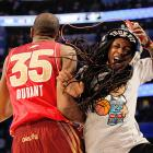 All-Star MVP Kevin Durant celebrates with hip-hop artist Lil' Wayne during the 2012 NBA All-Star Game in Orlando.