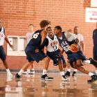 """Durant eyes the hoop in a Team USA basketball tuneup on July 23, 2008 in Las Vegas. While he didn't make that year's Olympic roster, he'd pioneer the so-called """"B-Team"""" to a FIBA World Championship just two years later."""