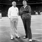 Two geniuses of the gridiron, head coaches Bill Walsh and Bill Parcells talk things over before their Monday Night contest on Oct. 5.  Walsh's play-calling proved to be superior in this one, as the 49ers defeated the Giants 41-21.  The game took place during the 24-day players' strike.