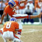 Rich Karlis attempts a field goal barefooted during a 17-10 win over Seattle in Mile High Stadium. He made 18 of 25 that season.