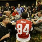 "Although Moss' tenure with the San Francisco 49ers has been free of any major controversies or flair ups, he did attract some attention at Super Bowl Media Day with his claim that he is ""the greatest receiver ever to play this game."" That title is usually given to another 49er, Jerry Rice, who said of Moss' statement that ""you put my numbers up against Randy's and my body of work compared to his, and there's a big difference."""