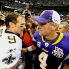"""Brees and Vikings quarterback Brett Favre meet on the field after the Saints' NFC Championship victory. """"We've used the strength and resiliency of our fans to go out and play every Sunday and play with the confidence that we can do it, that we can achieve everything we've set out to achieve,"""" Brees said after the game."""