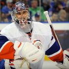 """The Islanders' most recent albatross received a stunning 15-year, $67.5 million deal in September 2006, but has been bedeviled by a seemingly endless string of knee, hip and groin injuries as well as a sports hernia that have limited him to a total of 47 games since 2008. At age 30, his 2011-12 season over prematurely, and with nine years still to run on his contract, the netminder now known as """"Rickety DiPietro"""" vowed to come back and press on.    CLICK HERE   to view  The Painful Saga of Rick DiPietro  gallery."""