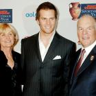 After leading the Patriots to a second straight Super Bowl and third in four years, Brady was honored by Sports Illustrated as Sportsman of the Year. In this photo, he poses with his parents,  Tom and Galynn.