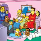 An animated Brady watches the Super Bowl with Springfield's first family.