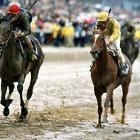 Going 13-for-13 during her career, Personal Ensign (left) became the first horse in more than 80 years to retire undefeated, which she did in 1989. One of her brightest career moments came in her 3/4 lengths victory over rival Winning Colors (far right) in the 1988 Breeders Cup Distaff.