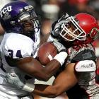 Much hype preceded this battle of Mountain West unbeatens, but it wasn't much of a battle at all. TCU quarterback Andy Dalton passed for a career-high 355 yards and three touchdowns and TCU's top-ranked defense made life miserable for Utah starter Jordan Wynn, who managed just 148 yards, threw two interceptions and lost a fumble. The Horned Frogs eliminated the Utes from the BCS discussion while boosting their own stock with an all-around dominant showing.