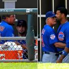 The Cubs removed Carlos Zambrano from his start and suspended him after a dugout tirade June 25 in which the volatile right-hander made foul-mouthed comments about his teammates and he and first baseman Derrek Lee had to be separated. The incident came after Zambrano allowed four runs in the first inning of a 6-0 loss to the White Sox. Zambrano underwent anger management therapy and rejoined the team a month later.