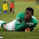 In a ridiculous bit of acting during the final game of the opening round of the World Cup, Ivory Coast's Kader Keita collided with Brazil's Kaka and dramatically fell to the ground. The Ivorian clutched his face, even though television replays showed had been barely nudged in the chest by Kaka. Referee Stephane Lannoy flashed a second yellow card at Kaka and sent him off.