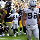Raiders defensive lineman Richard Seymour hit the Steelers' Ben Roethlisberger in the face with an open-handed punch as the quarterback was celebrating a touchdown pass during a Nov. 21 game. As Roethlisberger jumped into the arms of tackle Flozell Adams, he appeared to say something to Seymour, who turned and struck the quarterback in the jaw. Seymour was ejected from the game.