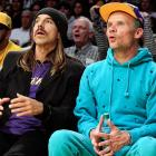 Whatever these fellas were a-gawkin' at during the Lakers-Pacers tilt at L.A.'s Staples Center, it must have been pretty darn amazing.