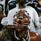 A fellow who seems partial to TP Mazembe Englebert leant his rather distinctive support during the team's FIFA Club World Cup quarterfinal match with Pachuca at Mohamed Bin Zayed Stadium in Abu Dhabi, United Arab Emirates.