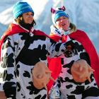We were udderly flabbergasted by the sight of these two fans at the Women's World Cup Super G event in Lake Louise, Canada, and we're milking this photo for all its worth.
