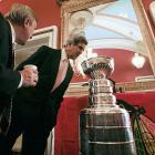 You never know what those zany NHL players will leave in the Stanley Cup after they're done partying with it, but Senator John Kerry (D-Mass.) was brave enough to find out when the old mug made a visit to Capitol Hill.