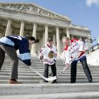 Given the political climate these days, it's no surprise that when you go to a session of Congress, a hockey game is likely to break out.