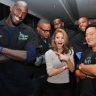 The Celtic icon made mirth with  Abcess Hollywood  host Maria Menounos, Chef Ming Tsai, Glen Davis, Kendrick Perkins and Paul Pierce at a celebrity bowling tournament to benefit Pierce's Truth on Health Campaign in fabulous Mashantucket, Connecticut.