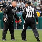 Tom the Cable guy had a frank exchange of views with a zebra during the Oakland Raiders' game against the Denver Broncos on Dec. 19.