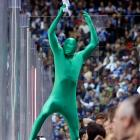 You've seen the Blue Man Group. What the world needs now is a Green Man Group, and we nominate this guy to lead it. Here he is cheering on Vancouver's finest, which ended up throwing in the towel against the Chicago Blackhawks in their Western Conference semifinal series.