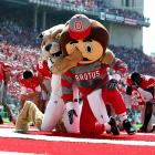 Brutus Buckeye and Rufus the Ohio Bobcats mascot brought a little MMA action to the field at Ohio Stadium on September 18.