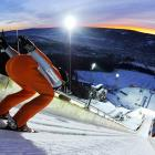 A skier prepares to descend during the ski jumping World Cup in Lillehammer, Norway.  Thomas Morgenstern of Austria took first in the individual competition with a combined point total of 283.