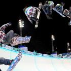 U.S. snowboarder Shaun White seems to be moving in in slow motion in this time-lapse photograph taken during the halfpipe competition in West Vancouver, Canada.  White would win gold in the event.