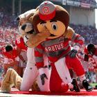 Ohio University mascot Rufus the Bobcat attacks Ohio State mascot Brutus the Buckeye before Ohio State's 43-7 home victory.