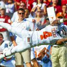 Texas Longhorns cornerback Aaron Williams dives for an interception against Oklahoma during the annual Red River Rivalry at the Cotton Bowl in Dallas. The Sooners would defeat the Longhorns 28-20 to bring their all-time series record to 41-59-5.