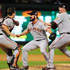 San Francisco Giants closer Brian Wilson (center) rcelebrates with rookie catcher Buster Posey (left) and first baseman Aubrey Huff (right) after beating the Texas Rangers 3-1 to win their first World Series in 56 years.