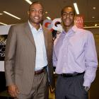 Rondo and Celtics coach Doc Rivers  attend an event  at Saks Fifth Avenue in Boston.