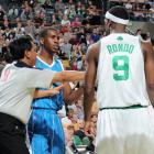 Rondo and Chris Paul exchange words during an early-season matchup. The two -- along with Deron Williams and Derek Rose -- are considered the best young point guards in the NBA.