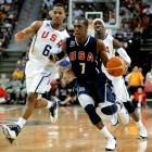 Rondo dribbles past Derrick Rose and Gerald Wallace during a USA Basketball showcase in Las Vegas last summer. Rondo was on the bubble to make the roster and withdrew before final cuts were made.