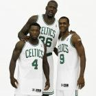 Rondo with Shaquille O'Neal and Nate Robinson at Celtics Media Day. Shaq joined the squad during the offseason and Robinson was brought in via trade late in the 2009-10 season.